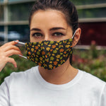 Printed Face Mask - Dark Autumn Leaves Hand Drawn Design