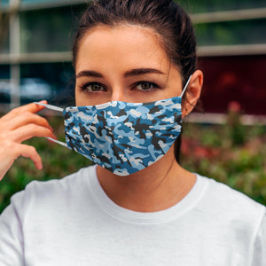 Printed Face Mask - Blue Fashion Camo Pattern Design