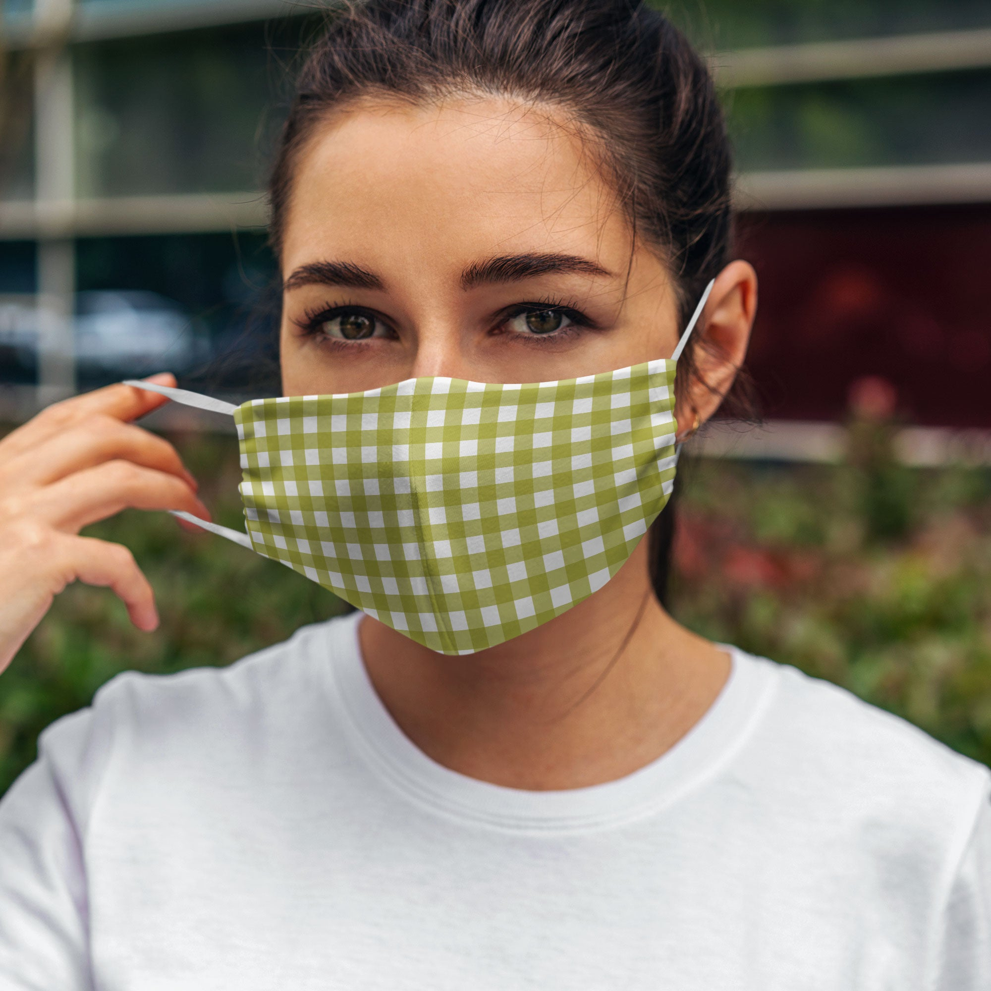 Printed Face Mask - Autumn Green Gingham Hand Drawn Design