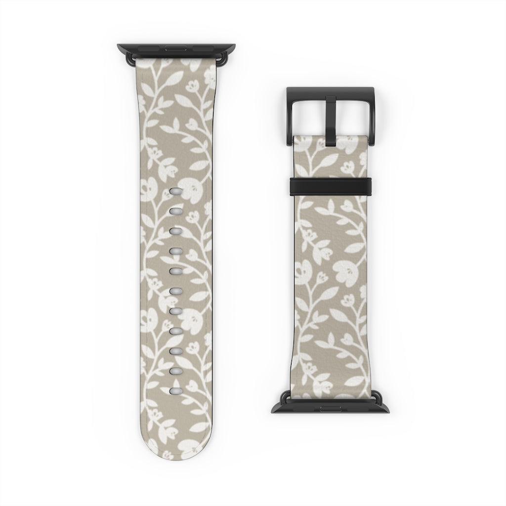 Beige Flower Pattern Replacement Apple Watch Strap
