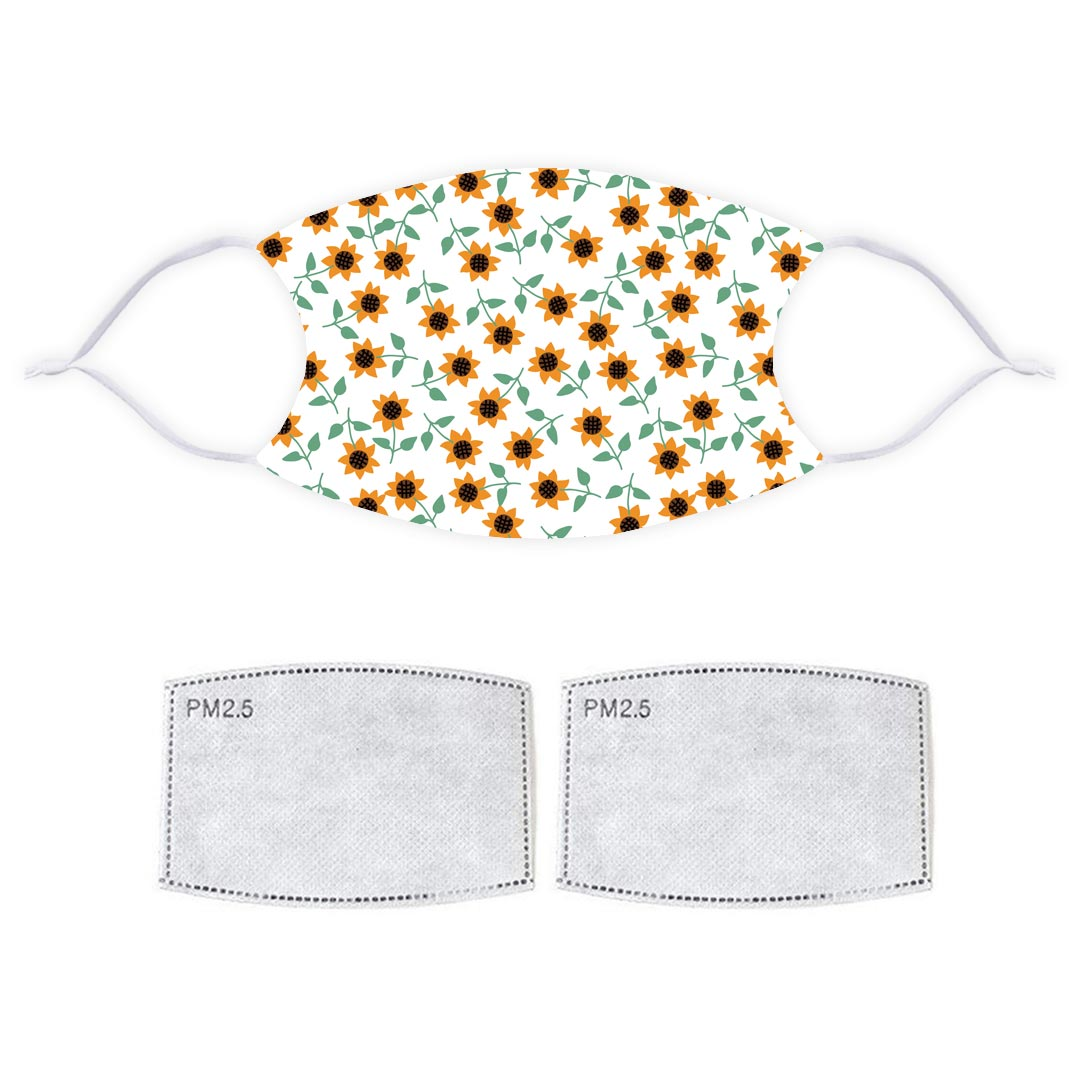 Printed Face Mask - Light Sunflower Pattern