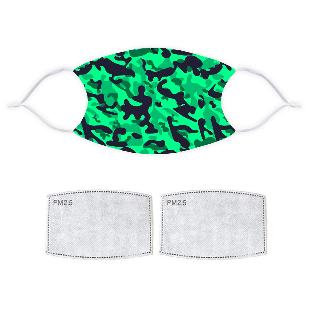 Printed Face Mask - Green Fashion Camo Pattern Design