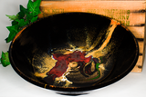 "Dramatic toasted orange glaze colors over deep black.  12.5"" handmade pottery bowl by Prairie Fire Pottery."