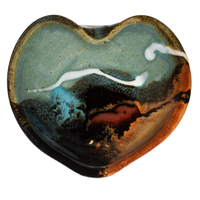 Very pretty turquoise & brown Heart Bowl.  Stoneware clay.  Handmade pottery.  Hand made by Prairie Fire Pottery.  Overhead view.