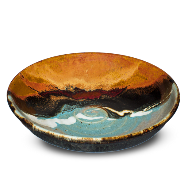 "10"" wheel-thrown stoneware bowl in turquoise-brown colors.  Handmade pottery by Prairie Fire Pottery.  3/4 view."