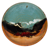 "10"" wheel-thrown stoneware bowl in turquoise-brown colors.  Handmade pottery by Prairie Fire Pottery.  Overhead view."