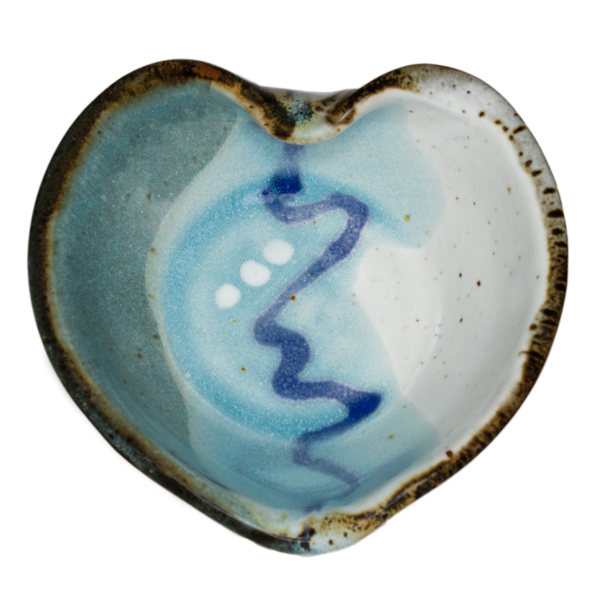 Turquoise and white Heart Bowl.  Handmade pottery.  Hand made by Prairie Fire Pottery in high-fired stoneware clay.  Overhead view.