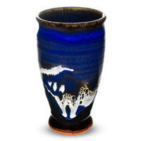 16-ounce blue and black cup. Handmade pottery from Prairie Fire Pottery. High-fire stoneware.