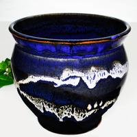 7 inch spoon crock in blue & black with white accents.  Handmade pottery by Prairie Fire Pottery.