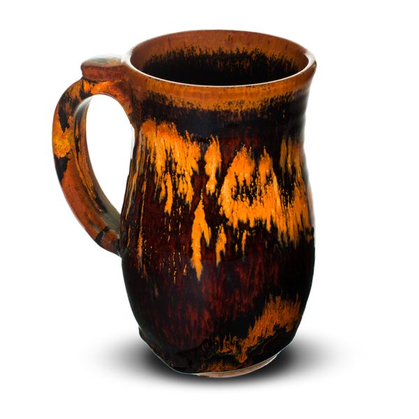18 ounce stoneware mug. Handmade pottery by Prairie Fire Pottery.  Left side view.