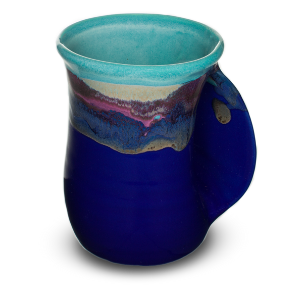 Marine blue and turquoise mug with unique handle for inserting your hand.  Handmade pottery in stoneware clay.