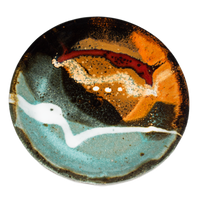 Pretty turquoise & brown small plate.  Handmade pottery by Prairie Fire Pottery in stoneware clay.  High-fired to 2400°.  Overhead view.