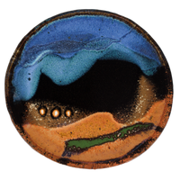Small plate in cobalt blue-turquoise-brown.  Handmade pottery crafted in stoneware clay by Prairie Fire Pottery.