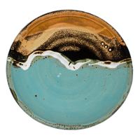 Turquoise-brown 8 inch lunch plate.  Handmade pottery.  Hand made by Prairie Fire Pottery.  Overhead view.