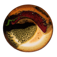 Small round plate in beautiful earth tone colors and red.  It's handmade pottery by Prairie Fire Pottery.  Hand crafted in stoneware clay and high-fired to 2400°.  Overhead view.