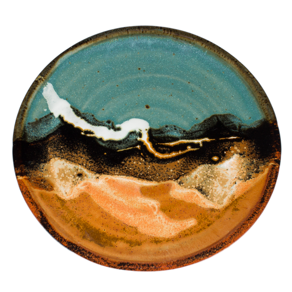 8 inch lunch plate.  Handmade pottery in turquoise-brown colors.  Hand made by Prairie Fire Pottery.  Overhead view.