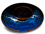 "14"" chip & dip platter in blue and black.  Handmade pottery by Prairie Fire Pottery.  Hand made in U.S.A.  3/4 view."