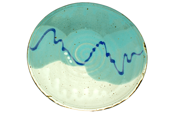 10 inch dinner plate in turquoise and white colors.  Handmade pottery by Prairie Fire Pottery.  High-fired stoneware clay.