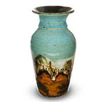 Classic tapered vase in turquoise and brown colors.  Handmade pottery by Prairie Fire Pottery.   Front view.
