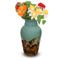 Classic tapered vase in turquoise and brown colors.  Handmade pottery by Prairie Fire Pottery.  View with flowers.