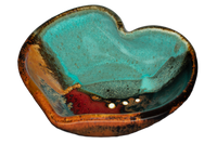 Very pretty turquoise & brown Heart Bowl.  Stoneware clay.  Handmade pottery.  Hand made by Prairie Fire Pottery.  3/4 view.