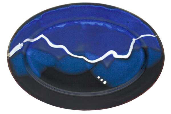 Beautiful cobalt blue and black oval plate.  Handmade pottery by Prairie Fire Pottery.  Overhead view.