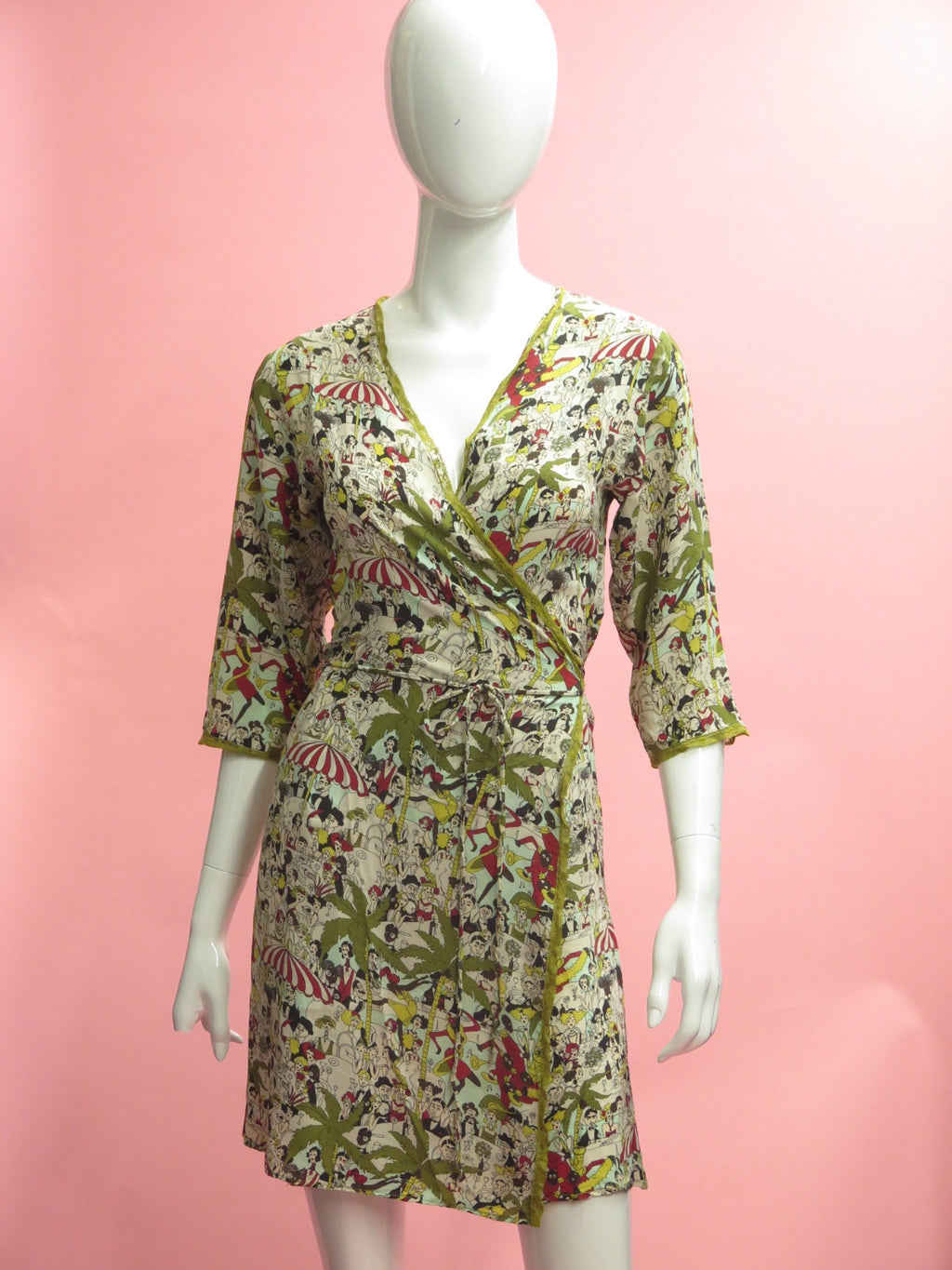 1990's John Galliano Festive Print Wrap Dress