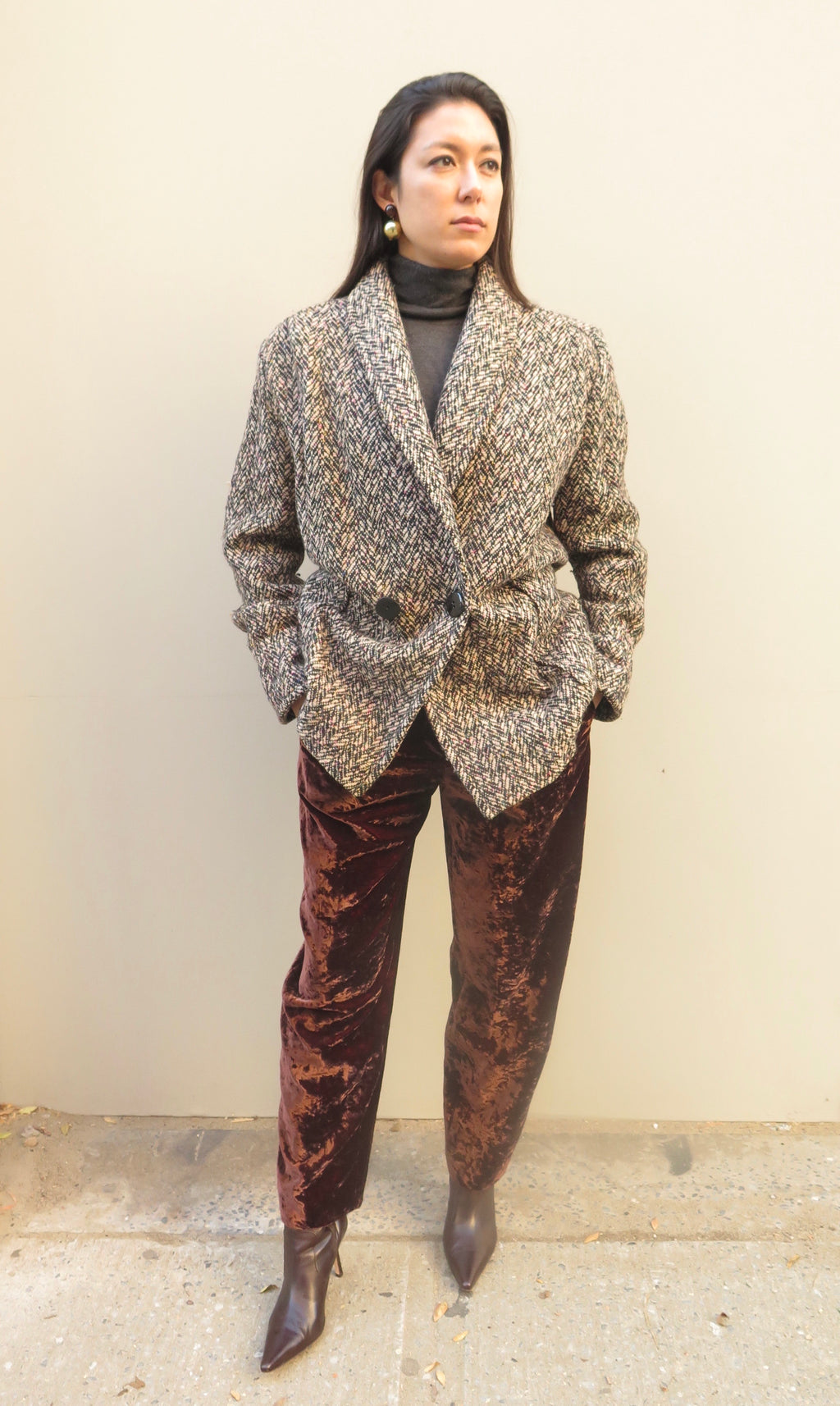 1990's Melange Tweed Double Breasted Car Coat