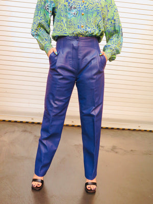 80's Blueberry Soft Leather Pants