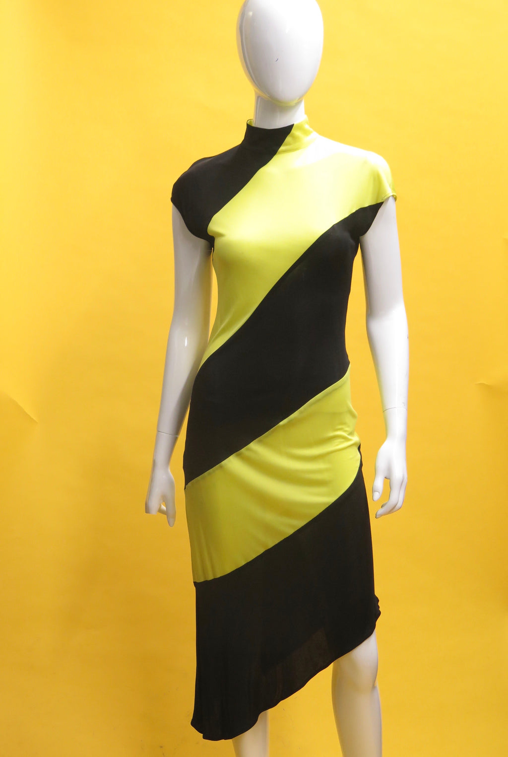 1990's Alexander Mcqueen A-symmetrical Bumble Bee Dress