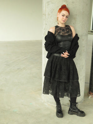 80's Punk Leather & Lace combo tiered dress