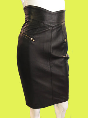1980's North Beach Leather High Waisted Skirt