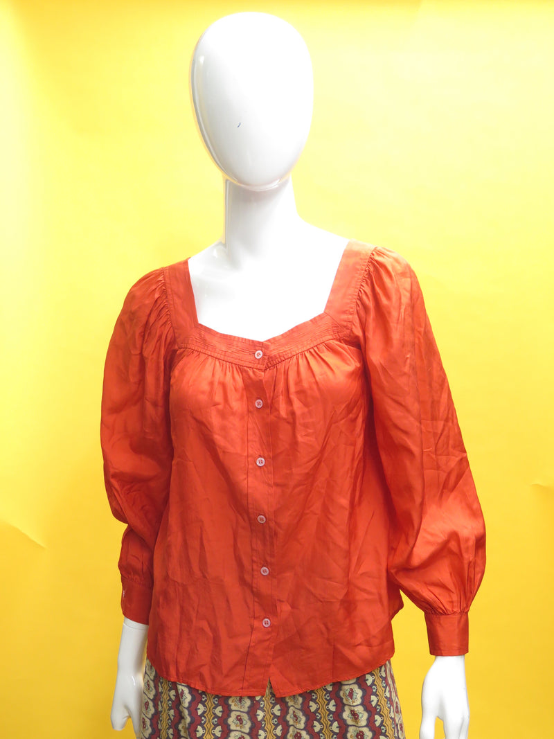 1980's YSL Tricot Red Silk Peasant Blouse