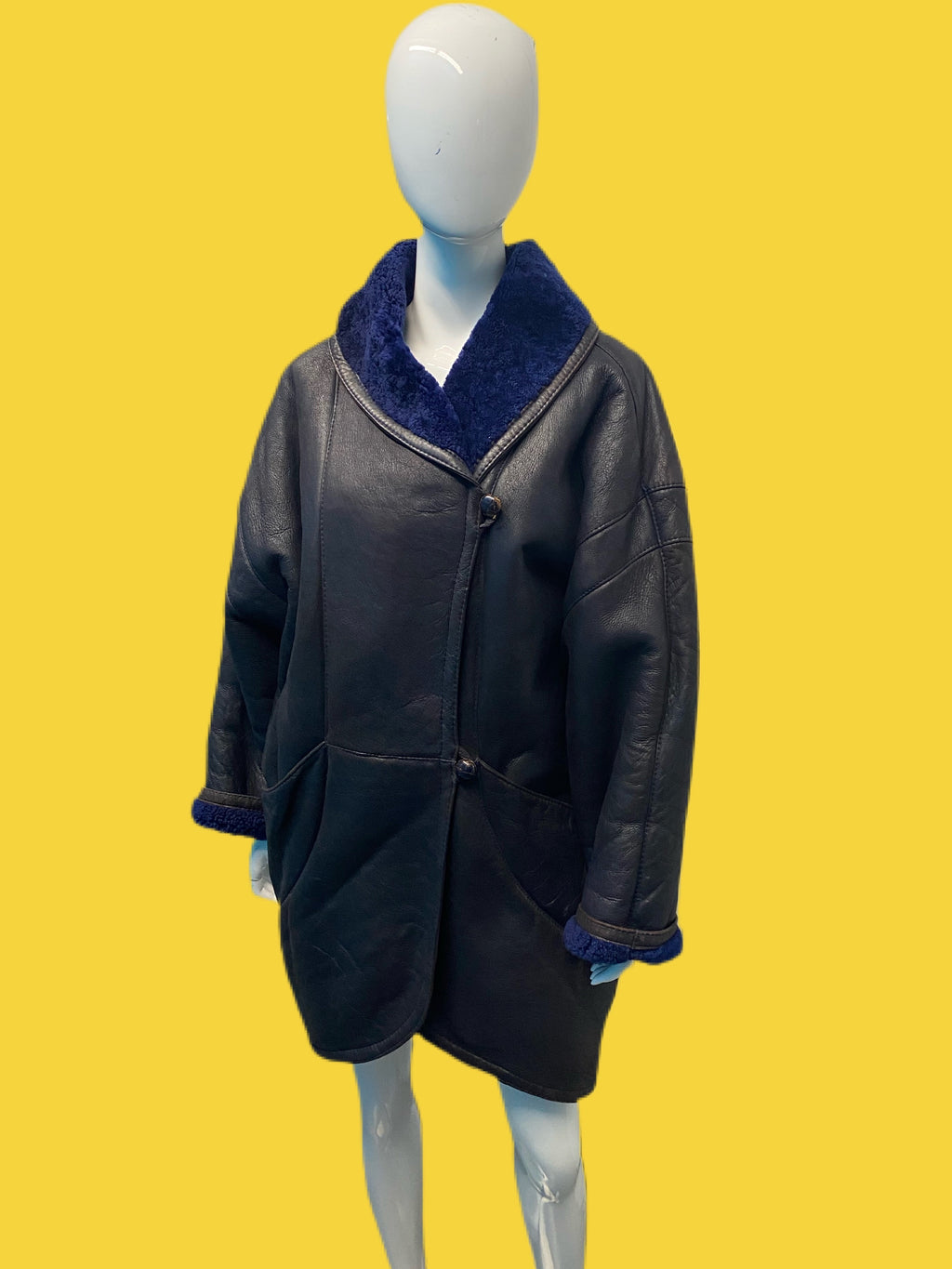 1990's Indigo Shearling Car Coat