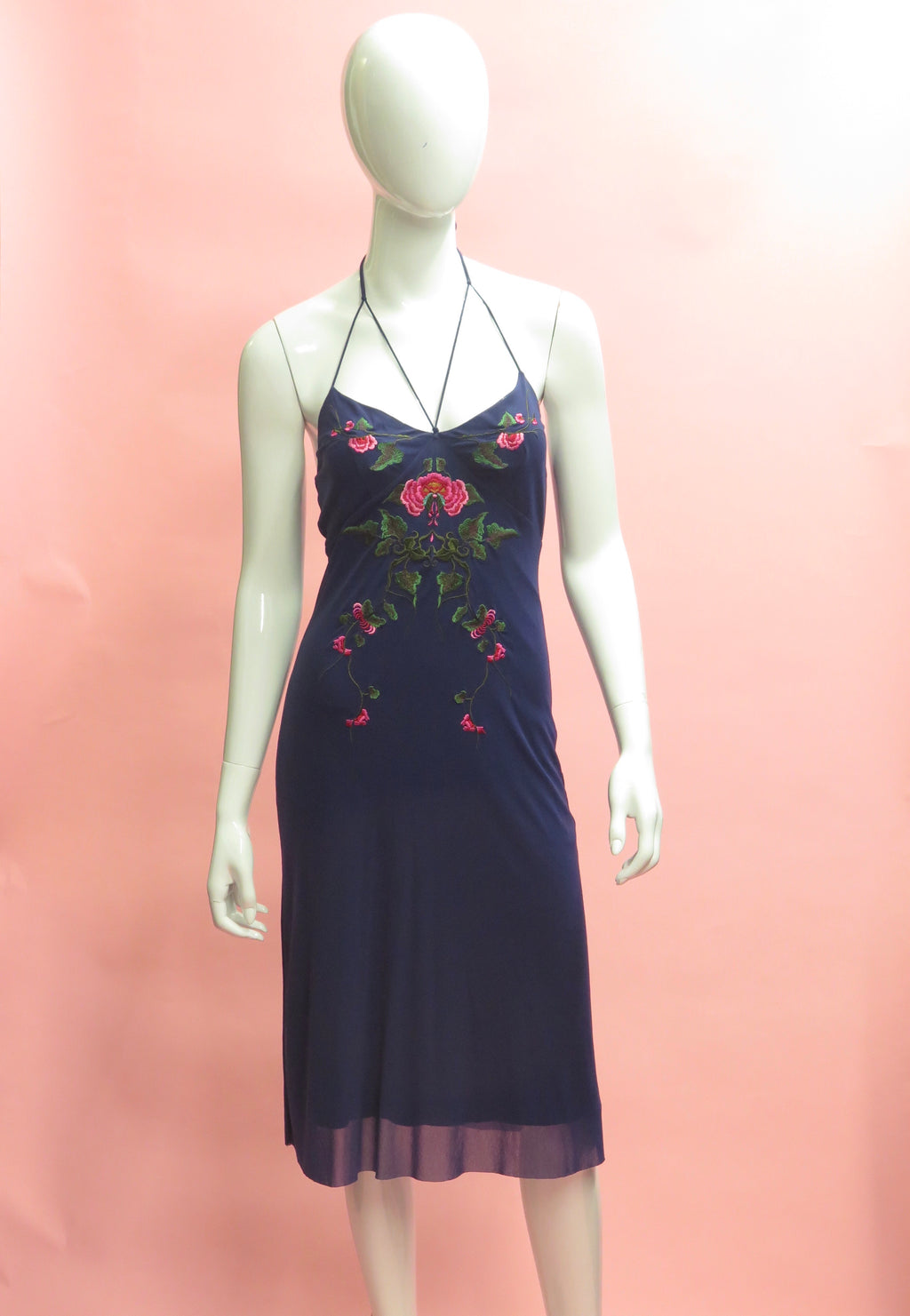1990's Vivienne Tam Floral Embroidered Mesh Halter Dress