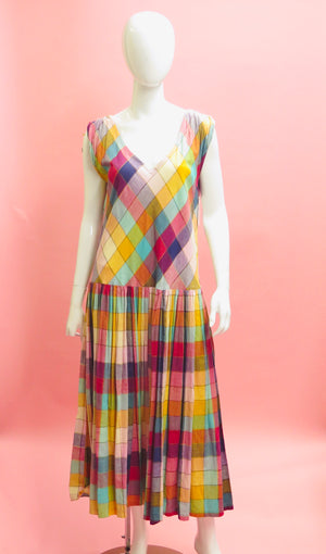 1990's Norma Kamali Checkered Drop Waist Dress