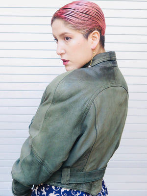 90's Moss Leather cropped Bomber Jacket