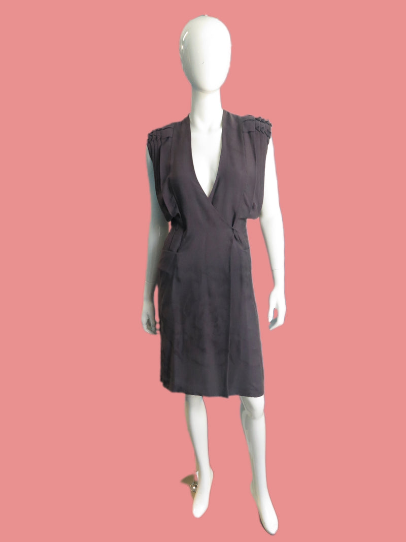 Calvin Klein Collection Smoke Silk Jacquard Kimono wrap Dress