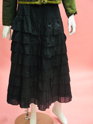 1990's Anna Molinari Cotton Tiered Peasant Maxi Skirt