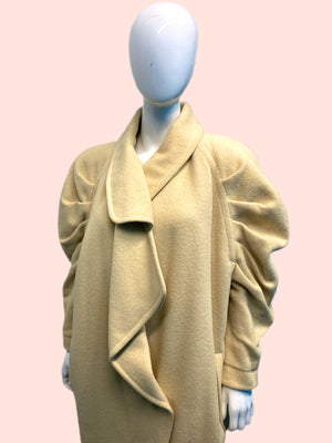1980's Claude Montana Ivory Pleated Sleeve Car Coat