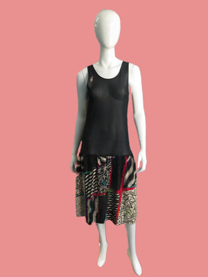 1980's Sheer Mesh & Silk Combo Drop waist Dress