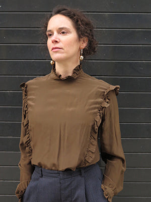 1980's Ellen Tracy Olive Silk Ruffle Edges Blouse