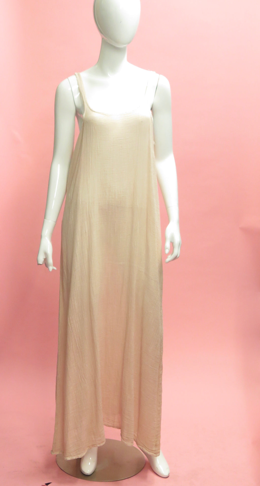 1990's J. Morgan Puett Pale Pink Soft Gauzy Cotton Slip Dress