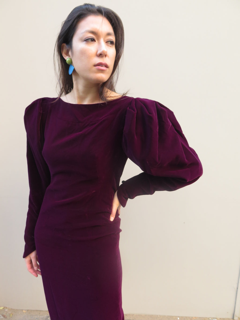 1980's Aubergine velvet Mouton sleeve dress