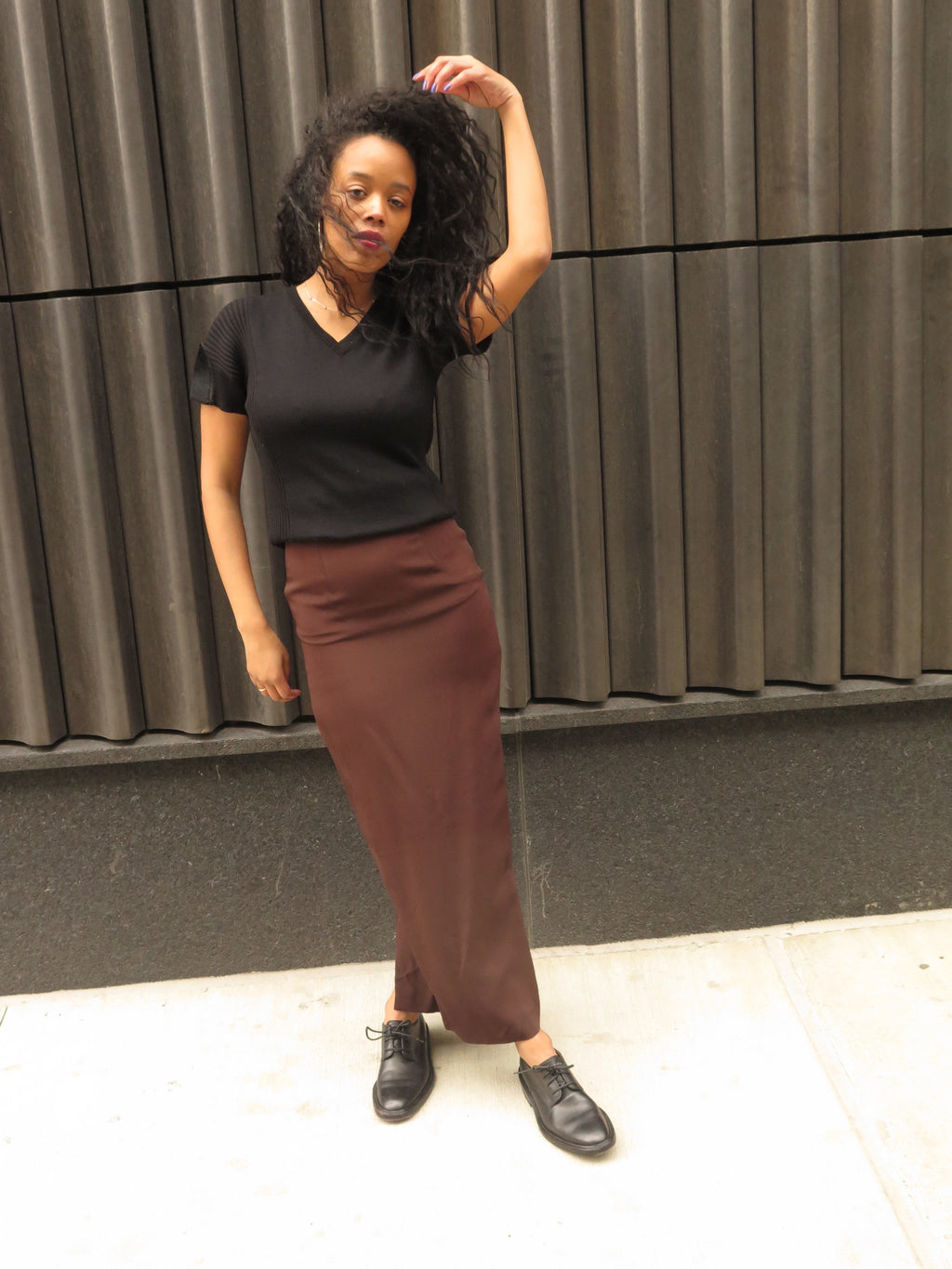 90's Ozbek Chocolate Fitted Silk Maxi Skirt