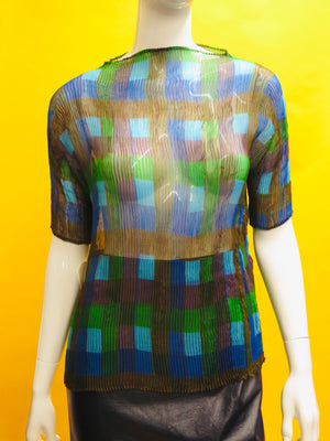 Issey Miyake Gentle Pleated Check Print Blouse