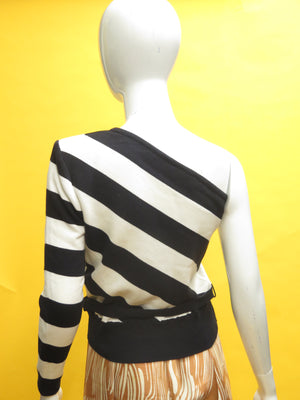 1980's Valentino One Shoulder Striped Knit Top