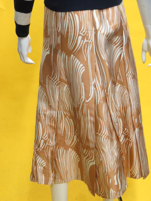 Prada Wavy Paintbrush Print Silk Satin Midi Skirt