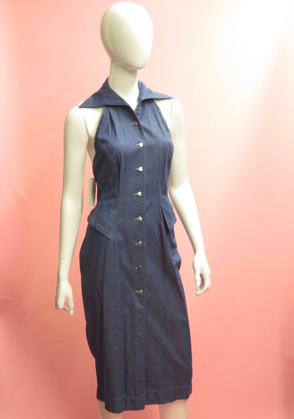 1980's Byron Lars Lace up Halter Denim Dress