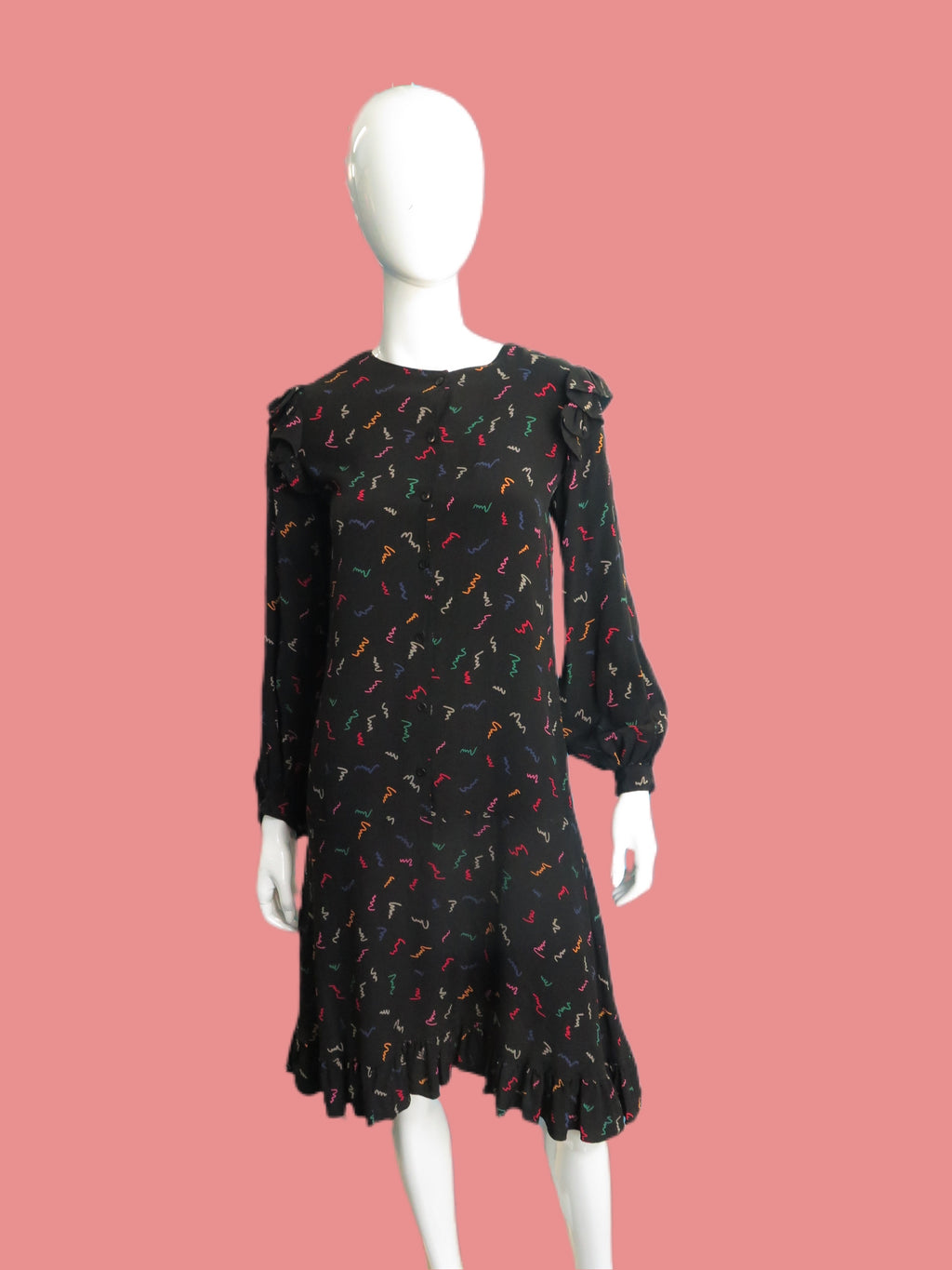 1980's Italian Silk New wave Print Balloon Sleeve Tunic Dress